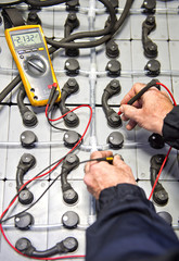 Battery check with multimeter