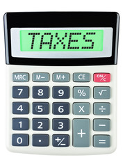 Calculator with TAXES on display on white background