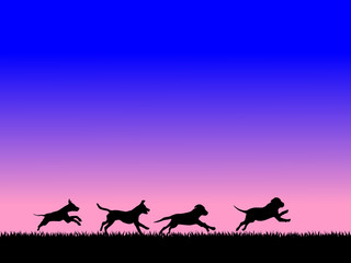 running dogs, vector file