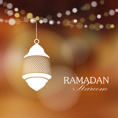 Arabic lamp, lantern with lights, Ramadan vector background
