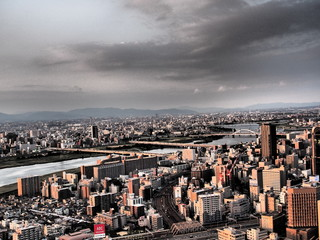 The City of Osaka at dusk