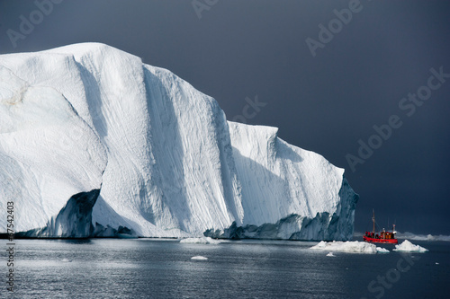 Foto op Canvas Antarctica 2 Red fishing boat around icebergs at Disko Bay, Ilulissat