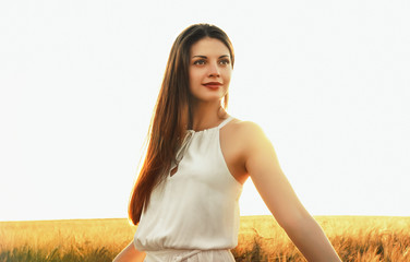 sensual attractive young woman enjoy beauty of sunset