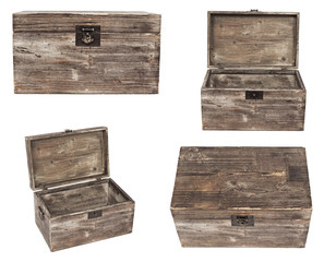set of old wooden chests are isolated on white