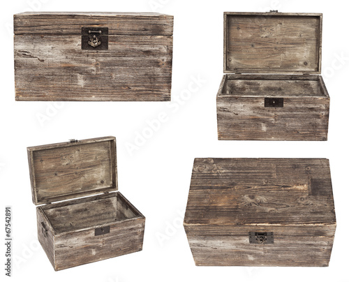 canvas print picture set of old wooden chests are isolated on white