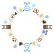 Round Frame Octoberfest Symbols Blue