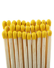 Wooden matchsticks on white background