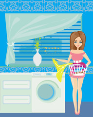 Housewife in modern blue kitchen
