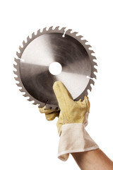 Circular Saw Blade For Cutting Plastics in hand, safty glove