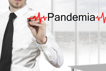 doctor writing pandemia heartbeatline