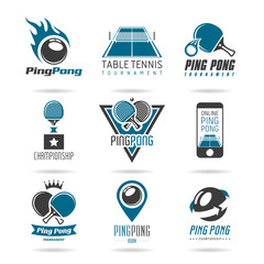 Ping pong icon set - 3