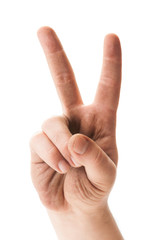 Dirty hand showing peace sign.