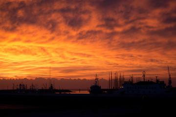 Sunset  fishing port Harlingen