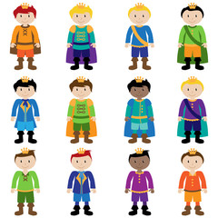 Vector Set of Cute Cartoon Princes
