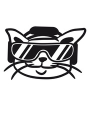 Cool Party Katze DJ Musik Deejay Club Brille