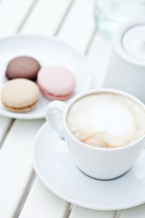 macarons with cappuccino