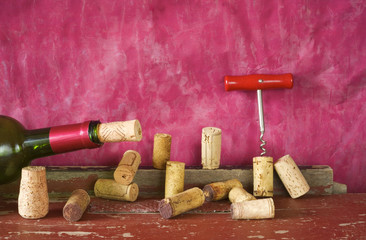 wine corks,corkscrew,bottle of wine, free copy space