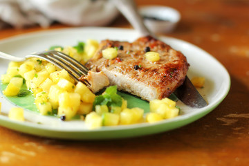 Roasted pork chops with pineapple salsa