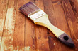 single brush on brown wood