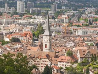 Chur, Altstadt, Kirchturm, Alpen, Graubünden, Sommer, Schweiz