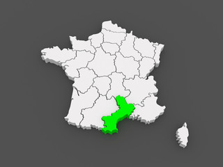 Map of Languedoc - Roussillon. France.