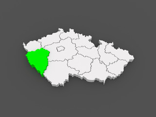 Map of Plzen Region. Czech Republic.