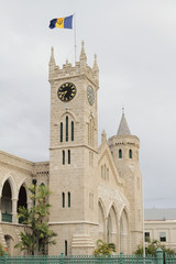 Parliament building, tower with hours. Bridgetown, Barbados