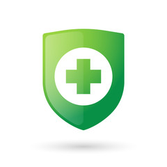 Shield icon with a pharmacy sign