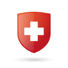 Shield icon with a swiss flag