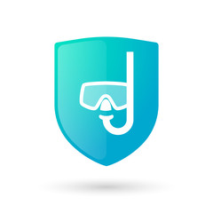 Shield icon with a diving googles