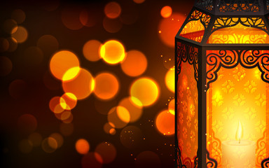 Illuminated lamp on Eid Mubarak (Happy Eid)