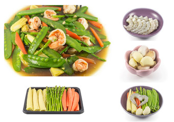 collage of Stir fried mix vegetables with shrimp
