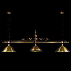 Vintage chandelier isolated on black with clipping path
