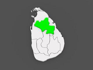 Map of North Central. Sri Lanka.