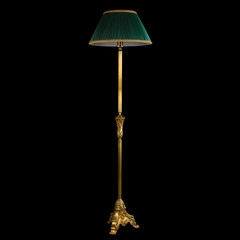 Ornamental vintage stand floor lamp isolated on black with clipp
