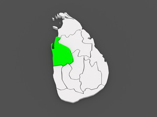 Map of North West. Sri Lanka.