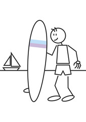 Stick figure surf