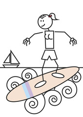 Stick figure surfing female