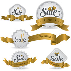 Gold ribbon glossy sale badges with various shape and design (ve