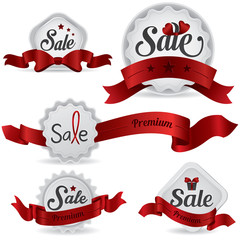 Red ribbon glossy sale badges with various shape and design (vec
