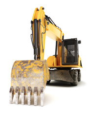 Hydraulic excavator on a white background