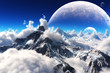 Celestial view of snow capped mountains and an alien planet. - 67548052