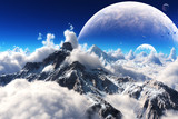 Celestial view of snow capped mountains and an alien planet.