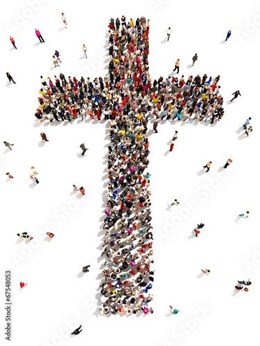 Leinwanddruck Bild People finding Christianity, religion and faith.