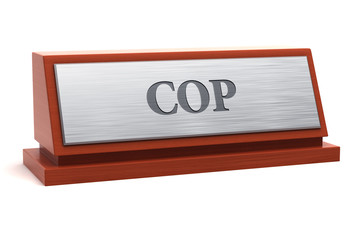 Cop job title on nameplate