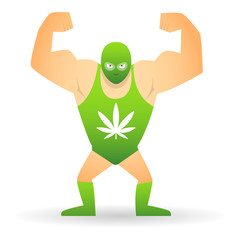 Wrestler with a marijuana leaf