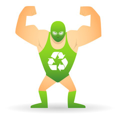 Wrestler with a recycle icon
