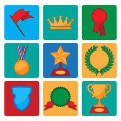 vector collection of award and trophy symbols