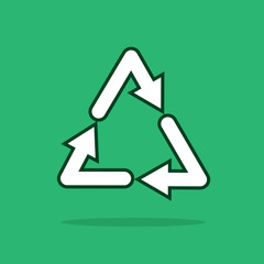 Recycle symbol floating with green background