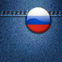 Russian Flag Badge on Denim Fabric Texture